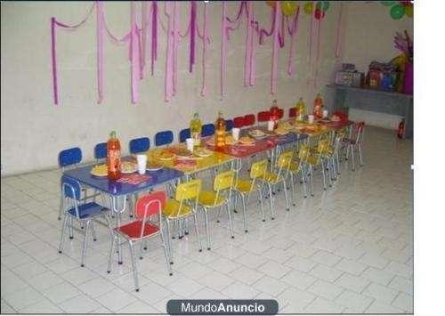 Arriendo mesas y sillas para cumpleaños tipo jardin infantil