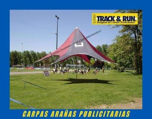 Carpas araña publicitarias track & run