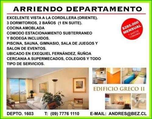 Departamento de 3 dormitorios, 2 baños, cocina amoblada, loggia, terraza, esatcionamiento, bodega