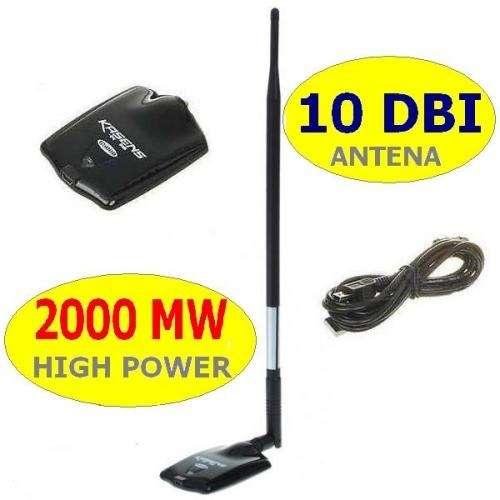 Usb wifi adapter 2000mw 54mbps 802.11 g/b + 10dbi antena