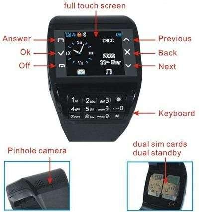 Reloj celular 100& touch micro camara foto y video, microfono sellados