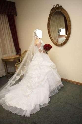 Vestido de novia+zapatos+velo+tocado+falso hermoso