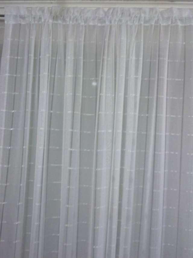 cortina visillo lino deshilado blanco - Cortinas Lino