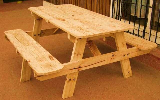 Mesa picnic terraza nuevas de madera en Valparaso Muebles