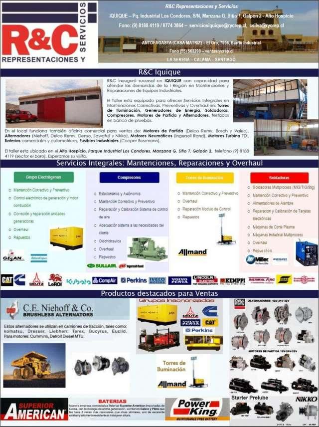 Overhaul, mantencion y reparacion generadores, compresores, torres iluminacion, soldadoras