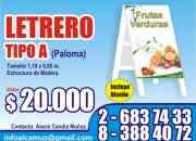 LETRERO TIPO PALOMA - Impresion digital.