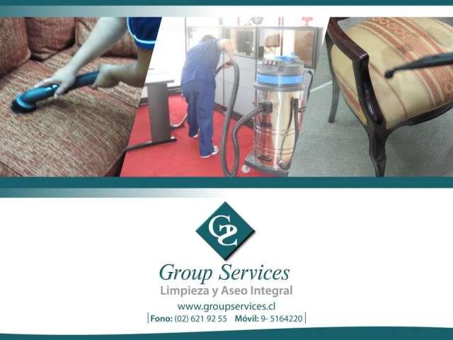 Group services ofrece: mantencion general, limpieza de alfombras, limpieza de sillones