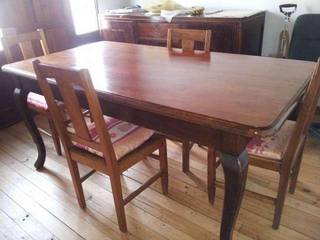 Comedor antiguo - mesa y 4 sillas laqueadas en Rancagua - Muebles ...