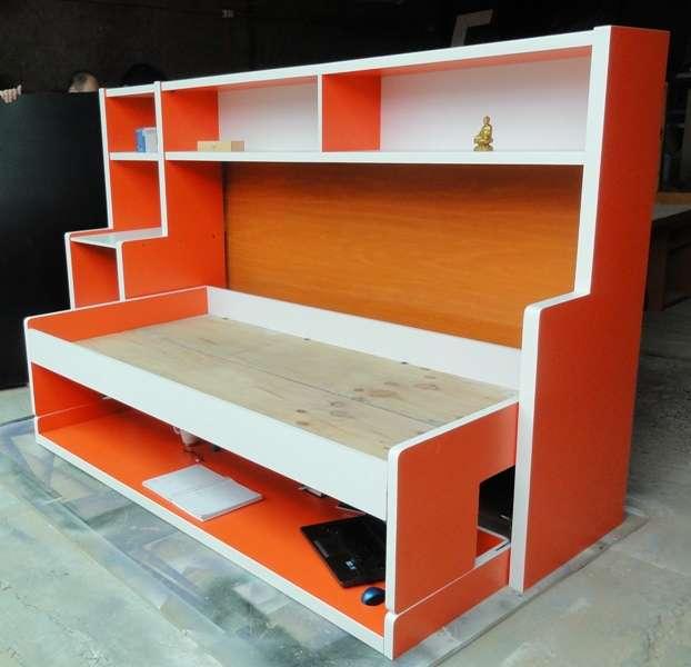 Cama abatible con escritorio gallery of cama abatible individual elevada con escritorio with - Cama plegable escritorio ...