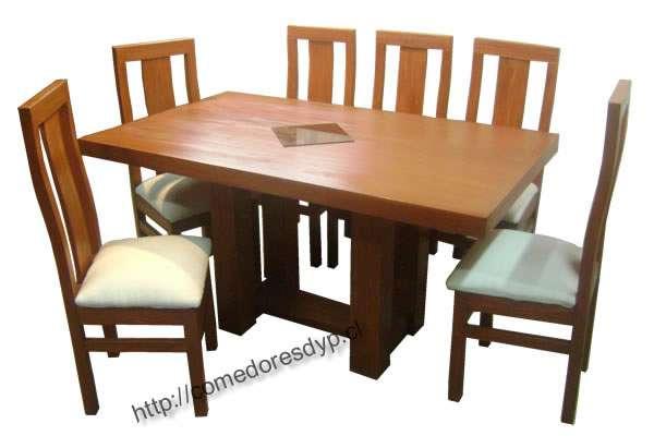 Juego comedor mesa rectangular pata central, 6 sillas en Santiago ...