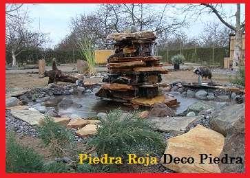 Fuentes con piedra naturalcaidas de aguapaisajismo piedra de rio
