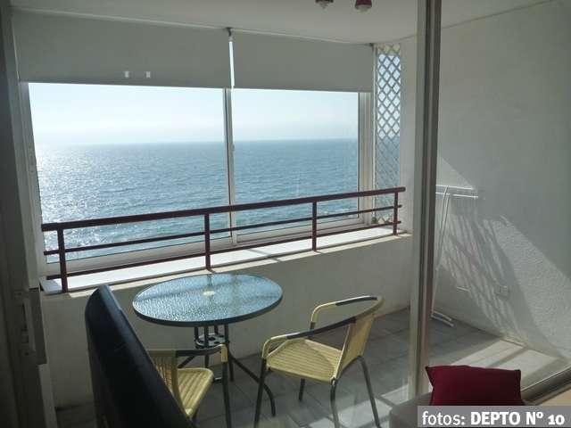 Depto reñaca 1 dormitorio, maravillosa vista, terraza, frente mar, piscina temperada