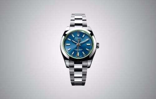Reloj rolex milgauss z azul. cristal de zafiro verde.