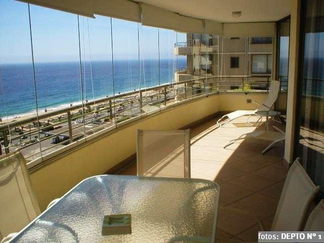 Arriendo viña del mar 4 dormitorios + sala, de lujo, terraza, vista mar. piscina temperada