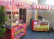 Carritos de comida Algodones Cabritas Hot Dogs Manzanas confitadas Bebidas, Helados. compl