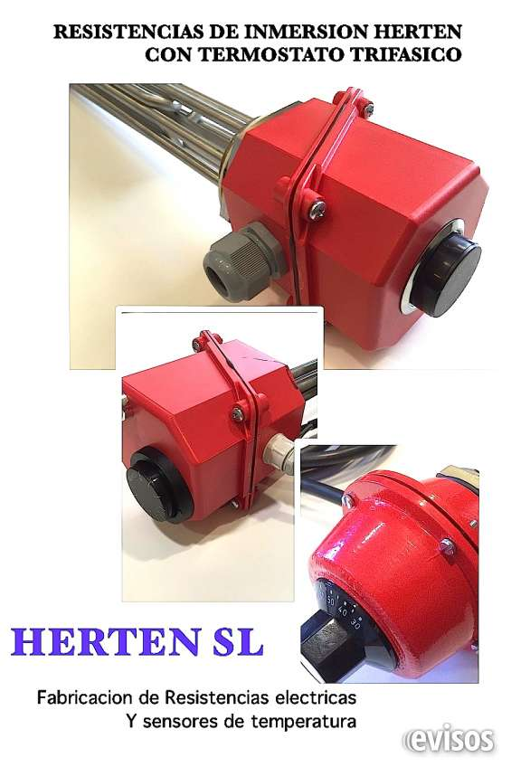 Resistencias electricas de inmersion con termostatos trifasicos integrados