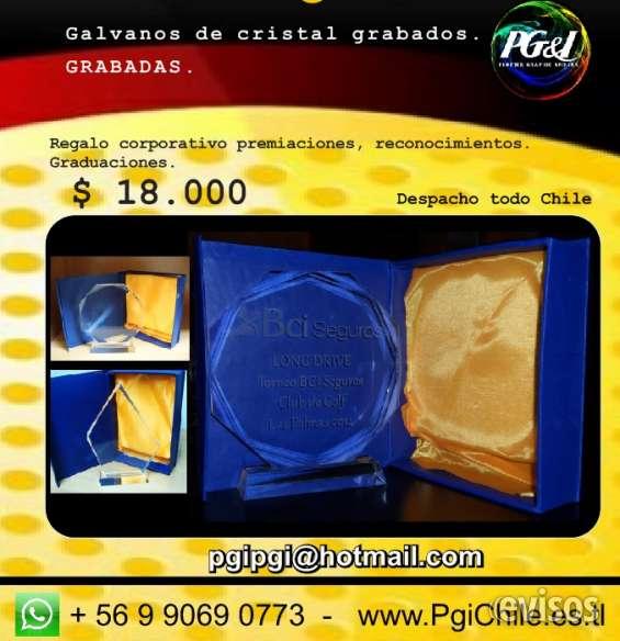 Galvanos de cristal grabados reconocimientos premiaciones