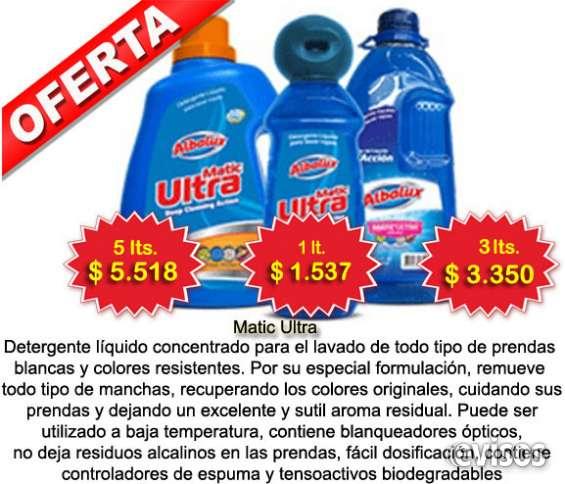 Detergente ultra de albalux, extraordinario aroma y calidad certificada. disponible en sachet de 120 ml, 1 ltr, 3 ltrs y 5 ltrs.