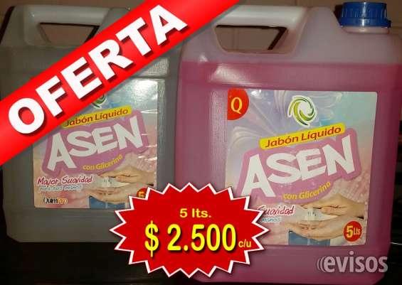 Jabón económico industrial, bidón 5 ltrs a $2.500.-