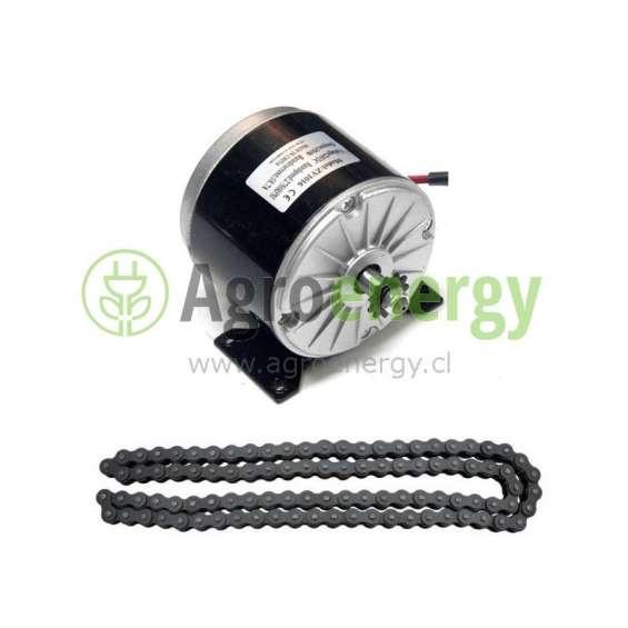 Motor eléctrico 250 watts 24 volts dc corriente continua multipropósito con cadena.