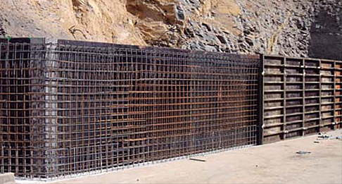 Muros de hormigón armado y bloques