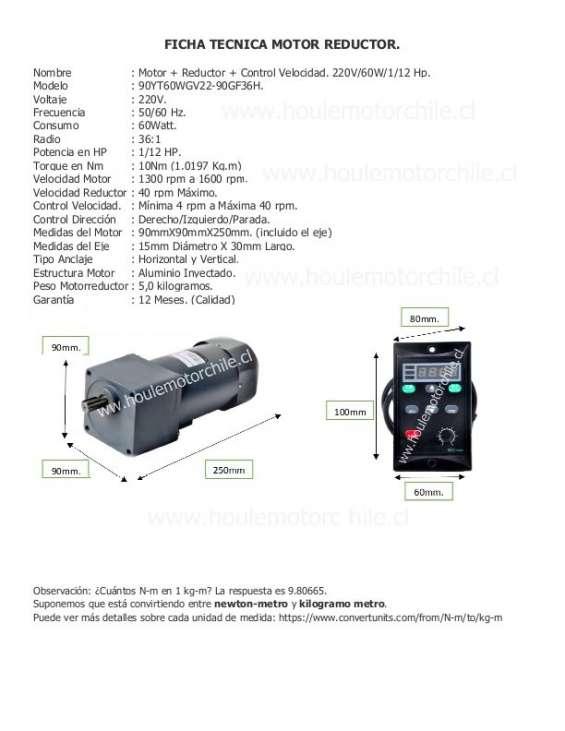 Motor+reductor+control velocidad 220v/60w/1/12hp.