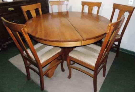 Mesa de comedor antigua de coihue, 6 sillas en madera en Santiago ...