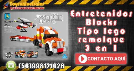Entretenidos blocks tipo lego el camión de remolque ausini blocks 3 en 1 más accesorios.