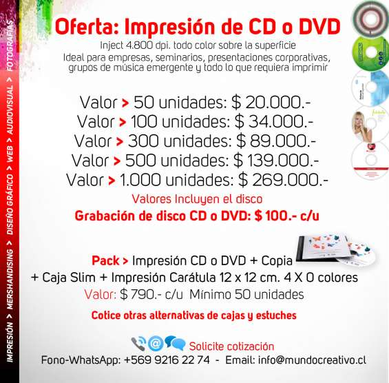 Impresión de cds y dvds
