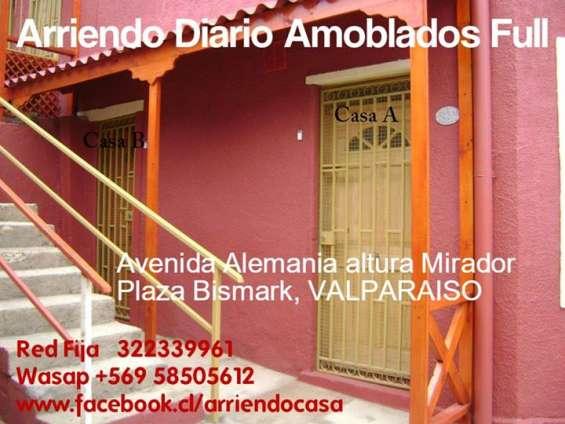 Arriendo por dia casa amoblada 1d1b wifi, valparaiso, 2 personas $25000 diario,  wasap 56 958505612