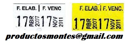 Etiquetas    fecha de  elaboracion y vencimiento
