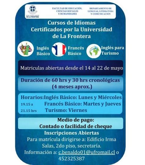 Matriculas abiertas cursos de idiomas universidad de la frontera