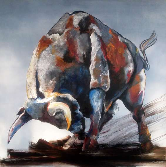 Toro de lidia arte abstracto 100 x 100 cm $185.000