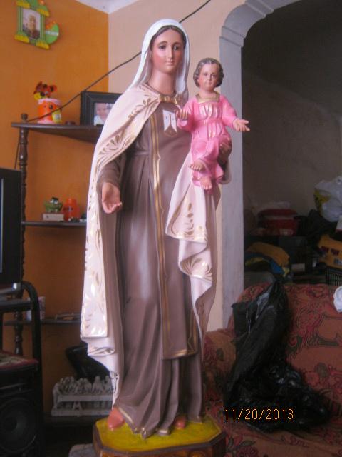 Virgen del carmen 100 cm en material yeso.