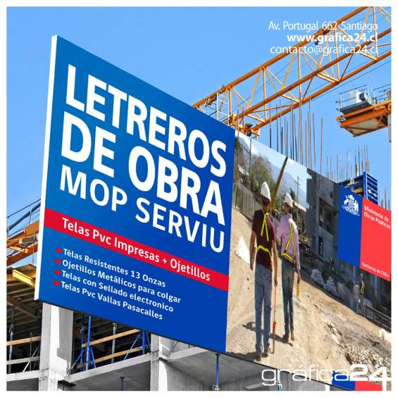 Letreros para obras de construccion en tela pvc
