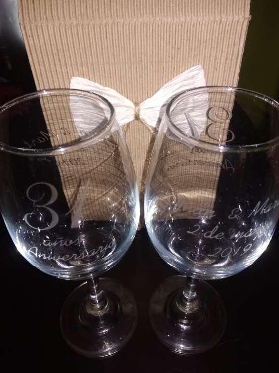 Copas grabadas regalo de aniversario matrimonio bodas de plata oro aniversarios