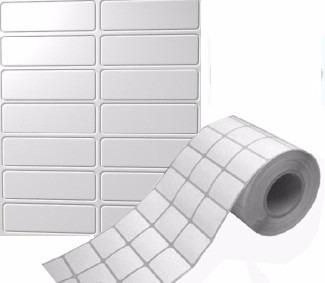 Etiquetas adhesivas en rollo blancas, circular
