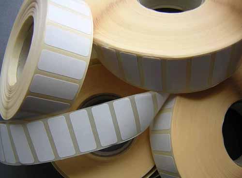 Etiquetas adhesivas en rollo blancas, termicas