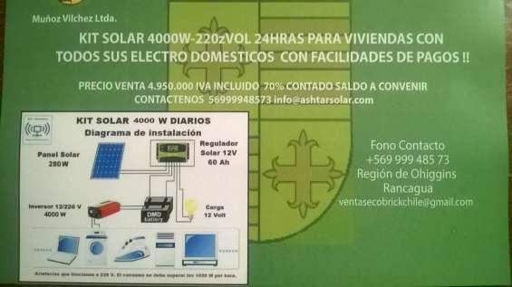 Kit solar 4000w-220v 24 hra para todo tipo de viviendas
