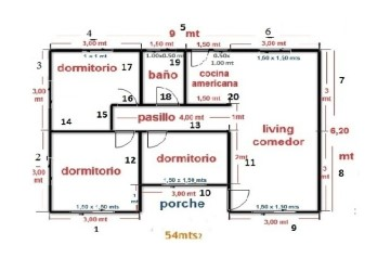 Plano de la casa de 54 mts2