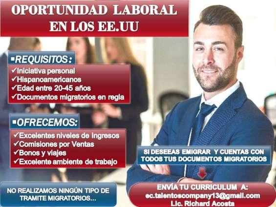 Interesados enviar su currículo al correo:   ec.talentoscompany13@gmail.com  al lic. richard acosta auxiliar gestión humana.