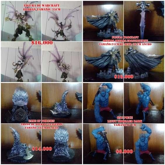 Figuras de illidan, arthas, el trono de hierro y luffy