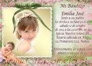Tarjetas Bautizos, encintados, santitos con foto Santiago